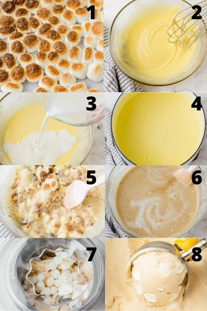 photo collage showing 8 steps needed to make marshmallow ice cream from scratch.