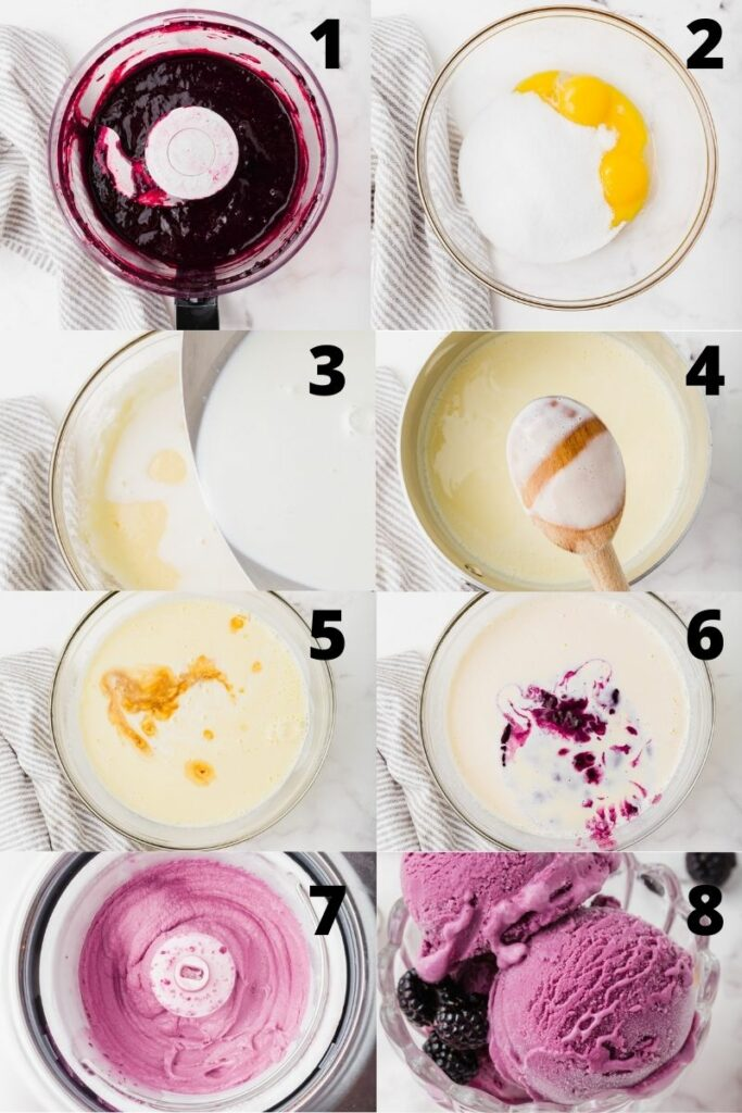 photo collage showing 8 steps needed to make black raspberry ice cream