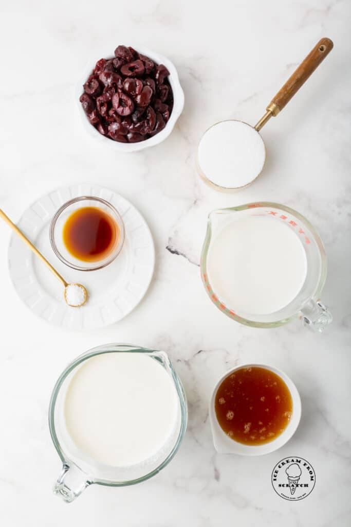 top down view of ingredients in cherry vanilla ice cream