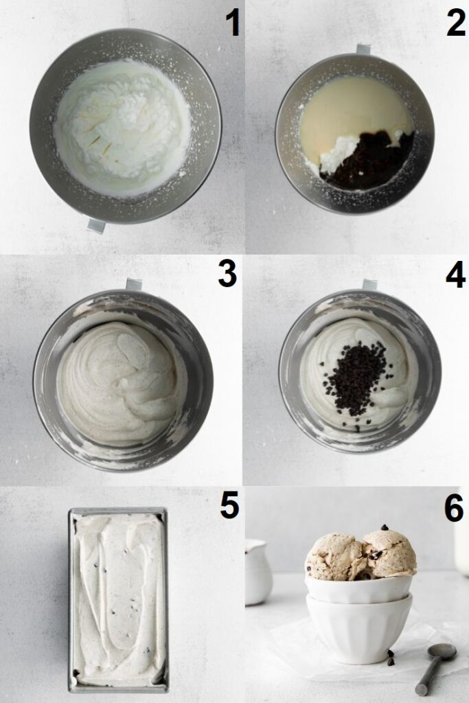 a collage of 6 photos showing the steps to make coffee flavored ice cream