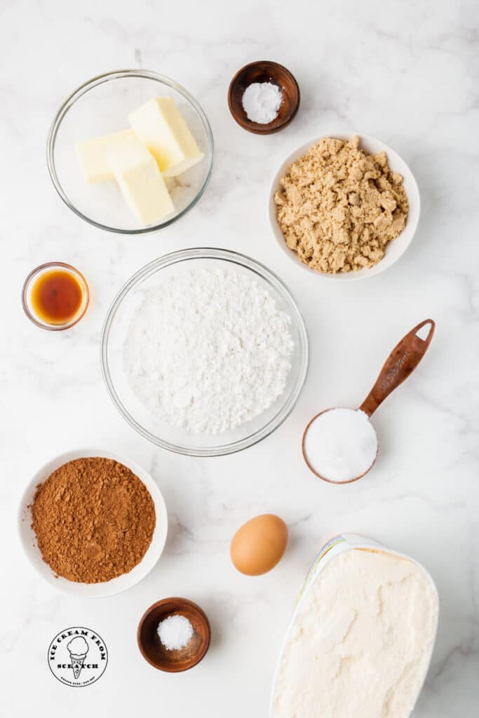 top down view of ingredients in ice cream sandwiches