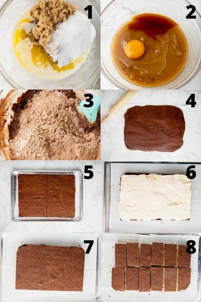 a collage of 8 photos showing the steps to make ice cream sandwiches