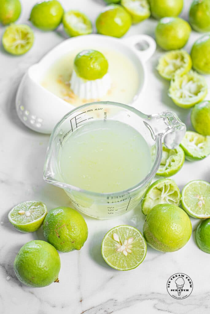 top down view of lime juice and limes