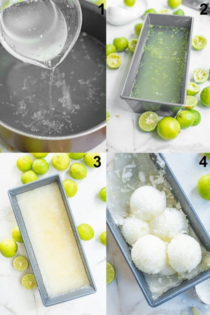 collage of 4 photos showing the steps to make lime sorbet