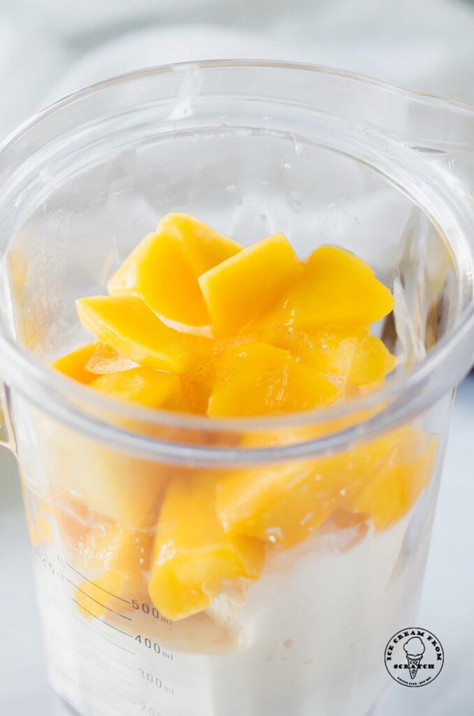 ingredients for a mango milkshake in a blender jar