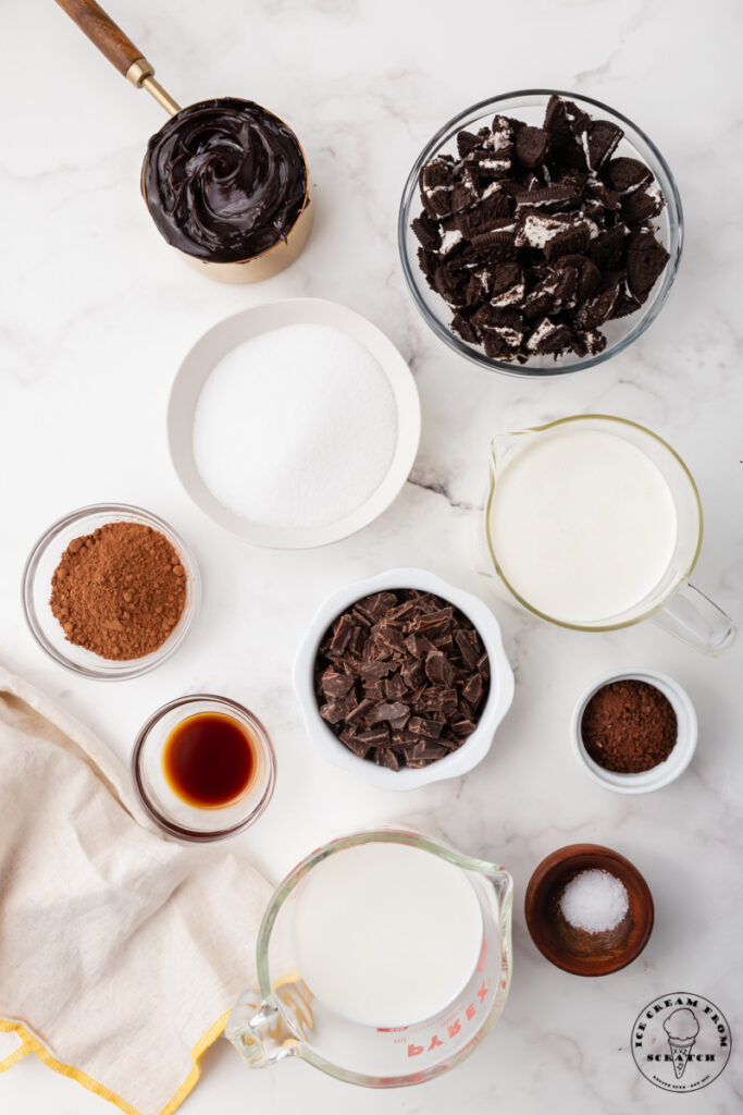 Ingredients needed to make mississippi mud ice cream, each in separate dishes.