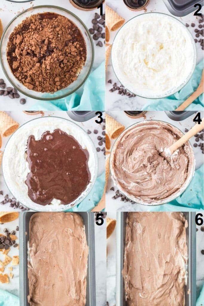photo collage of six steps needed to make no churn chocolate ice cream