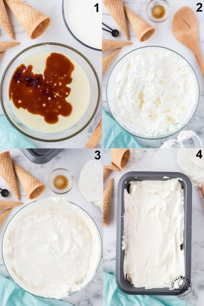 photo collage showing four steps needed to make no churn vanilla ice cream