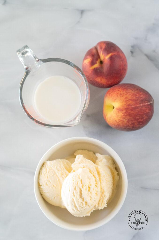 top down view of ingredients in peach milkshakes