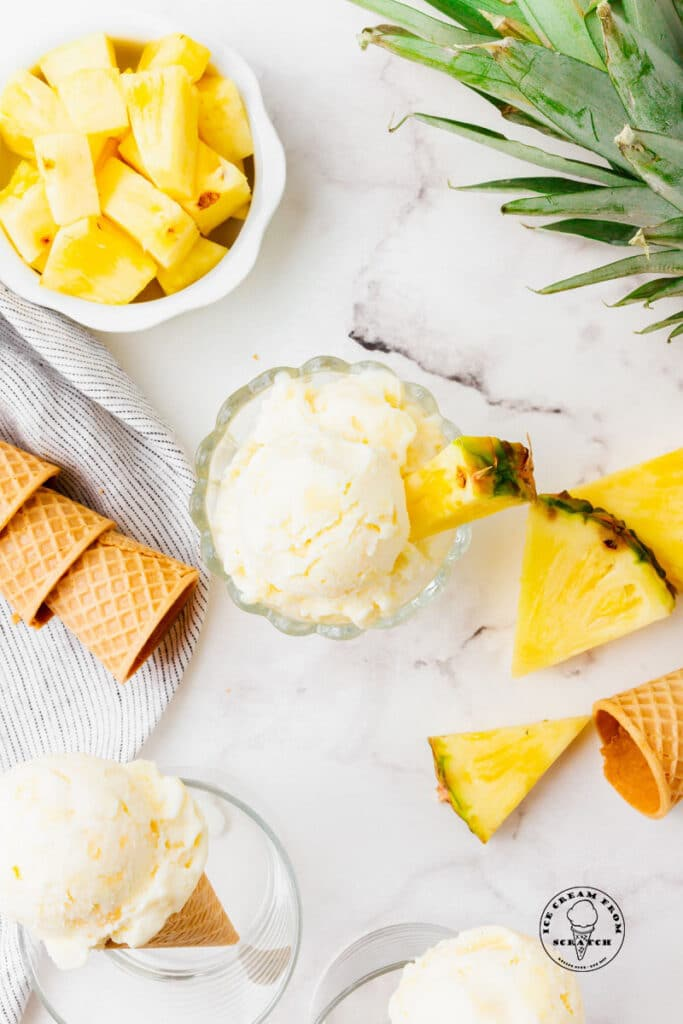 top down view of pineapple ice cream in a bowl