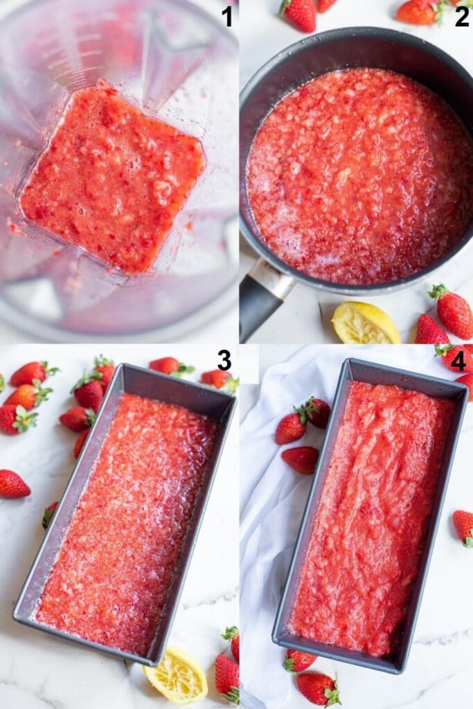 a collage of 4 photos showing the steps to make strawberry sorbet