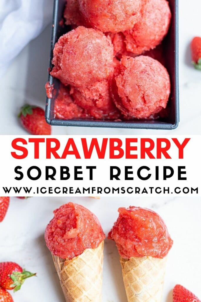 pinterest pin collage for strawberry sorbet