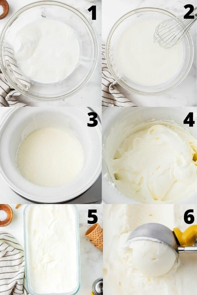 photo collage showing six steps needed to make sweet cream ice cream in an ice cream maker.