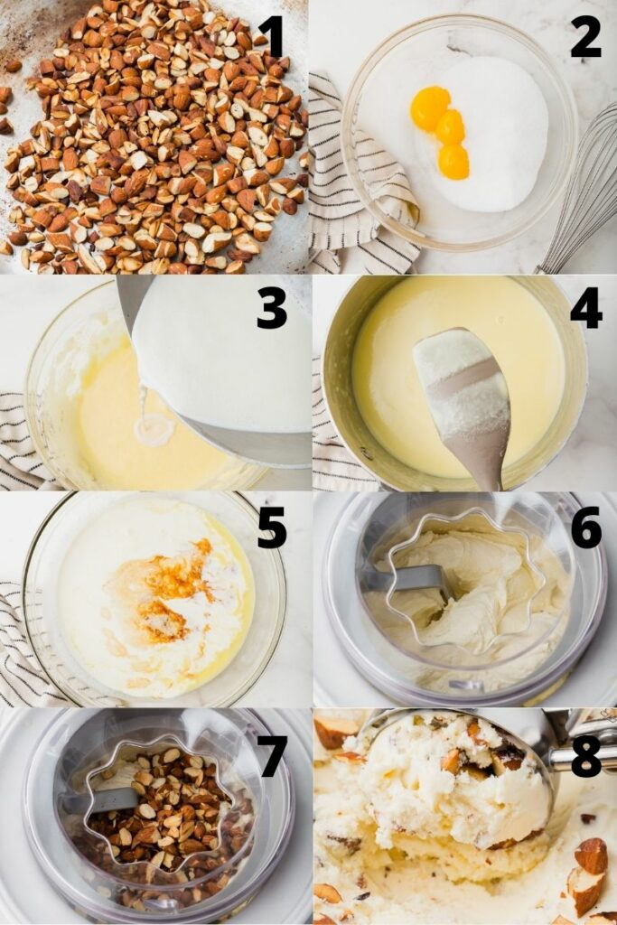 photo collage showing 8 steps needed to make toasted almond ice cream