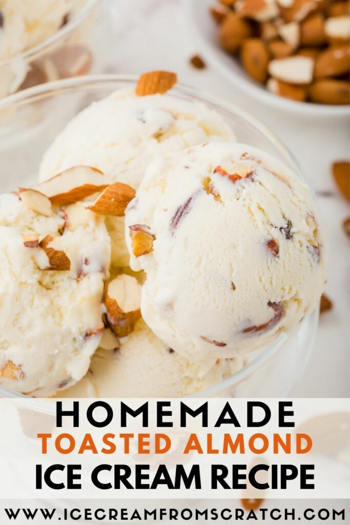 a glass ice cream dish filled with almond ice cream., with text overlay