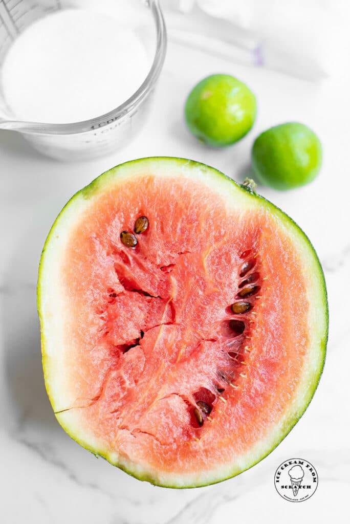 sugar, watermelon, two limes