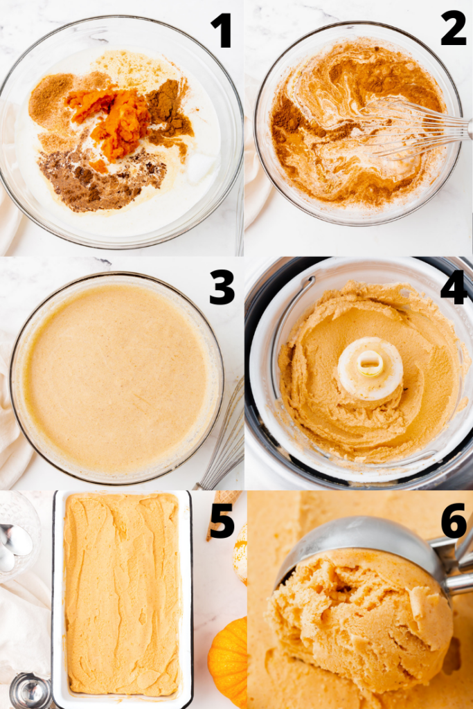 photo collage showing six steps needed to make pumpkin spice ice cream in an ice cream maker